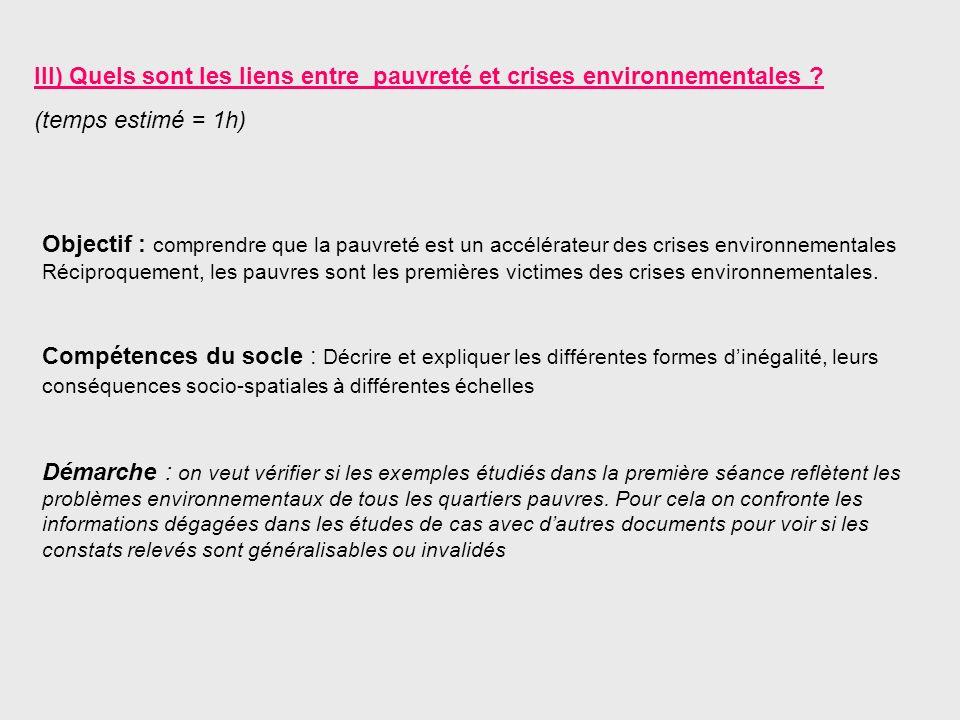 III) Quels sont les liens entre pauvreté et crises environnementales ? (temps estimé = 1h) Objectif : comprendre que la pauvreté est un accélérateur d