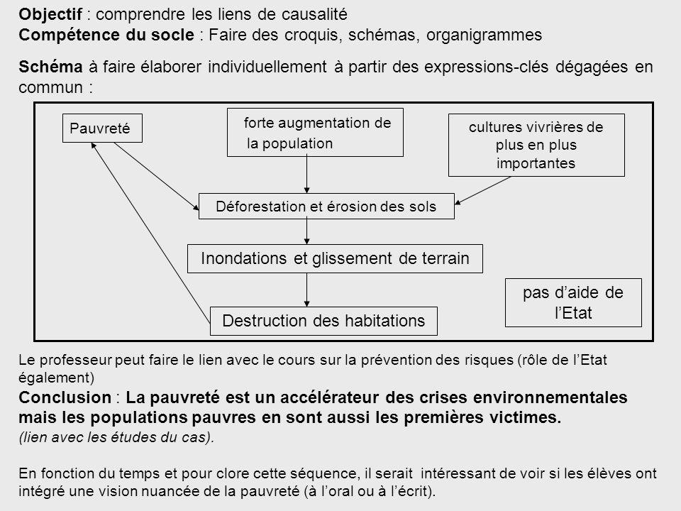 Objectif : comprendre les liens de causalité Compétence du socle : Faire des croquis, schémas, organigrammes Schéma à faire élaborer individuellement