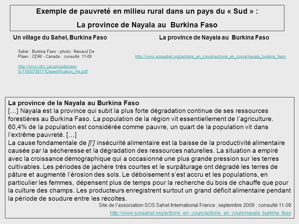 Exemple de pauvreté en milieu rural dans un pays du « Sud » : La province de Nayala au Burkina Faso Un village du Sahel, Burkina Faso Sahel ; Burkina