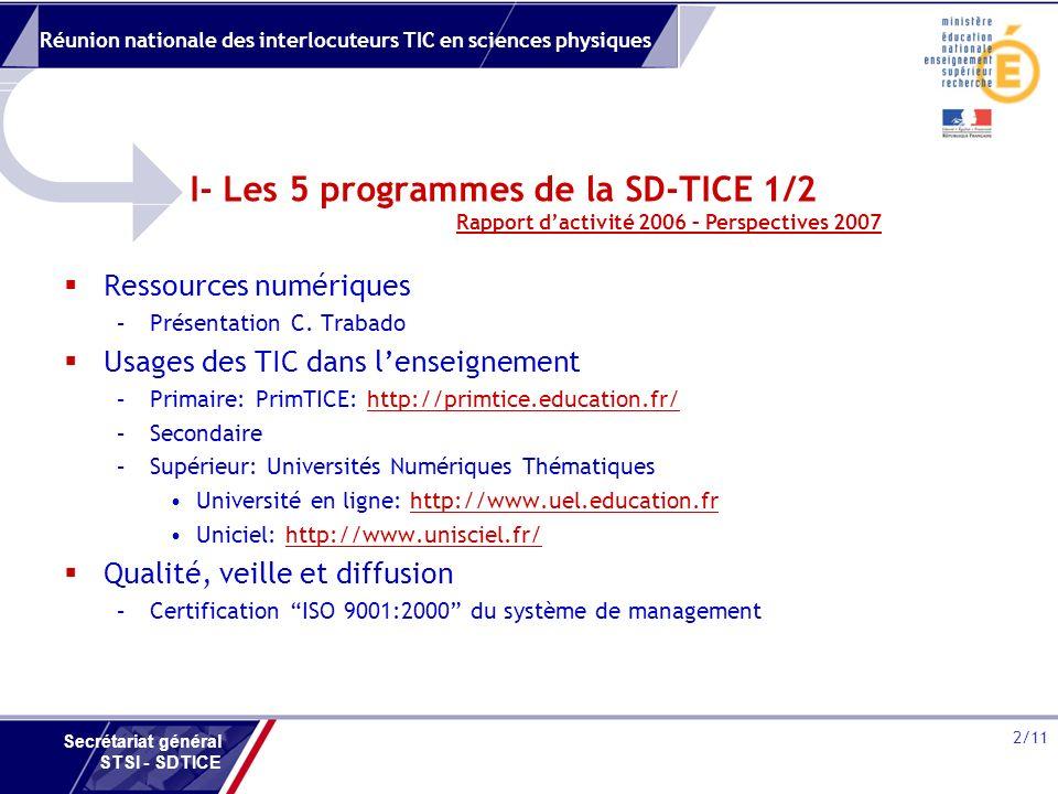 Réunion nationale des interlocuteurs TIC en sciences physiques 2/11 Secrétariat général STSI - SDTICE I- Les 5 programmes de la SD-TICE 1/2 Ressources numériques –Présentation C.