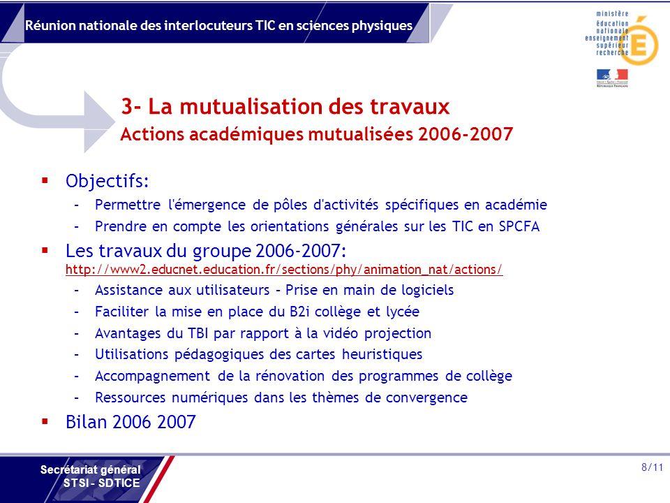 Réunion nationale des interlocuteurs TIC en sciences physiques 8/11 Secrétariat général STSI - SDTICE 3- La mutualisation des travaux Actions académiques mutualisées 2006-2007 Objectifs: –Permettre l émergence de pôles d activités spécifiques en académie –Prendre en compte les orientations générales sur les TIC en SPCFA Les travaux du groupe 2006-2007: http://www2.educnet.education.fr/sections/phy/animation_nat/actions/ http://www2.educnet.education.fr/sections/phy/animation_nat/actions/ –Assistance aux utilisateurs – Prise en main de logiciels –Faciliter la mise en place du B2i collège et lycée –Avantages du TBI par rapport à la vidéo projection –Utilisations pédagogiques des cartes heuristiques –Accompagnement de la rénovation des programmes de collège –Ressources numériques dans les thèmes de convergence Bilan 2006 2007