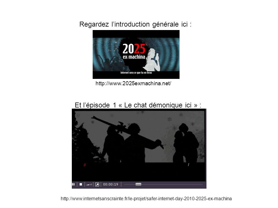 Regardez lintroduction générale ici : Et lépisode 1 « Le chat démonique ici » : http://www.2025exmachina.net/ http://www.internetsanscrainte.fr/le-projet/safer-internet-day-2010-2025-ex-machina