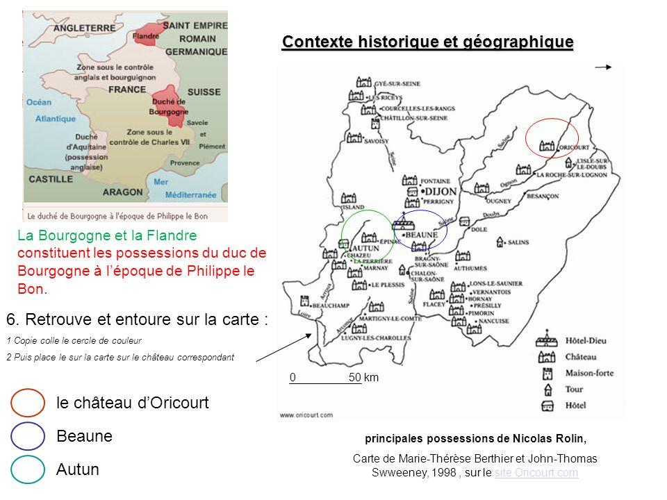 Contexte historique et géographique principales possessions de Nicolas Rolin, Carte de Marie-Thérèse Berthier et John-Thomas Swweeney, 1998, sur le si