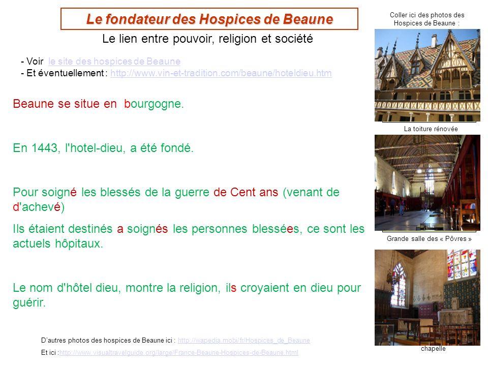 Grande salle des « Pôvres » chapelle Le fondateur des Hospices de Beaune Dautres photos des hospices de Beaune ici : http://wapedia.mobi/fr/Hospices_d