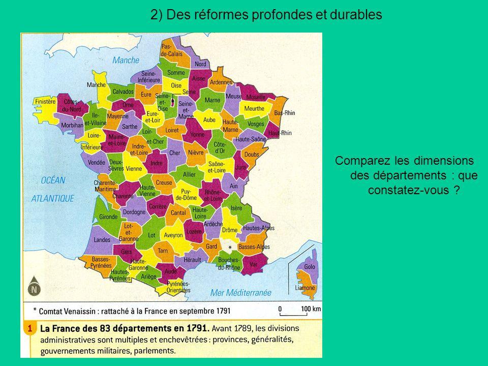 2) Des réformes profondes et durables Comparez les dimensions des départements : que constatez-vous ?