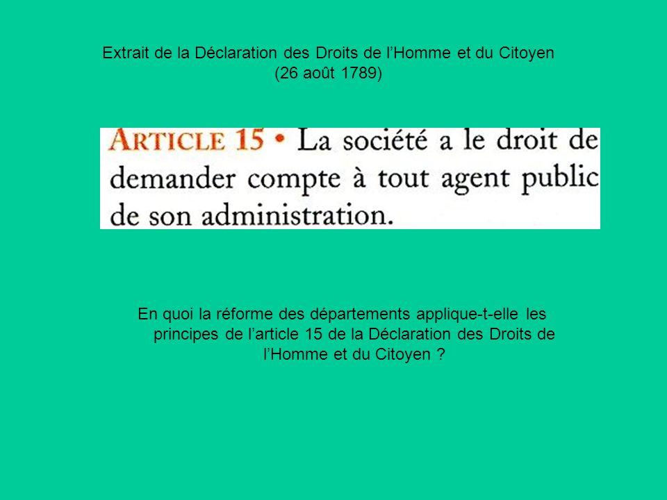 Extrait de la Déclaration des Droits de lHomme et du Citoyen (26 août 1789) En quoi la réforme des départements applique-t-elle les principes de larti