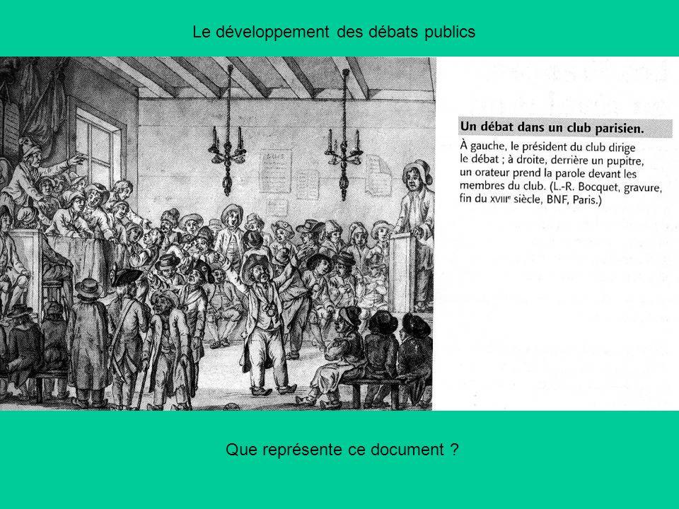 Le développement des débats publics Que représente ce document ?