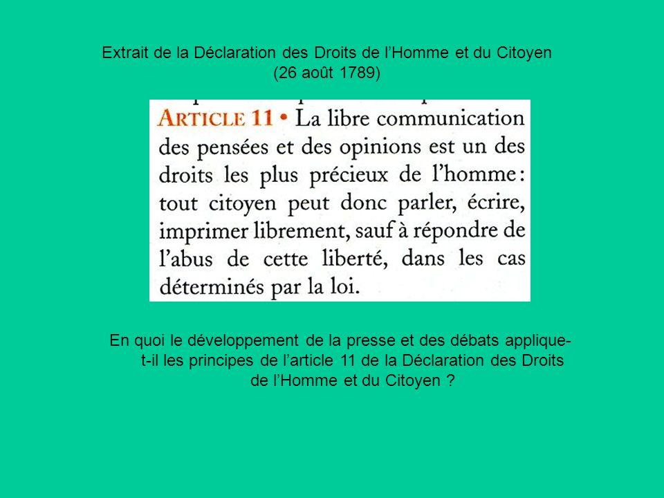 Extrait de la Déclaration des Droits de lHomme et du Citoyen (26 août 1789) En quoi le développement de la presse et des débats applique- t-il les pri