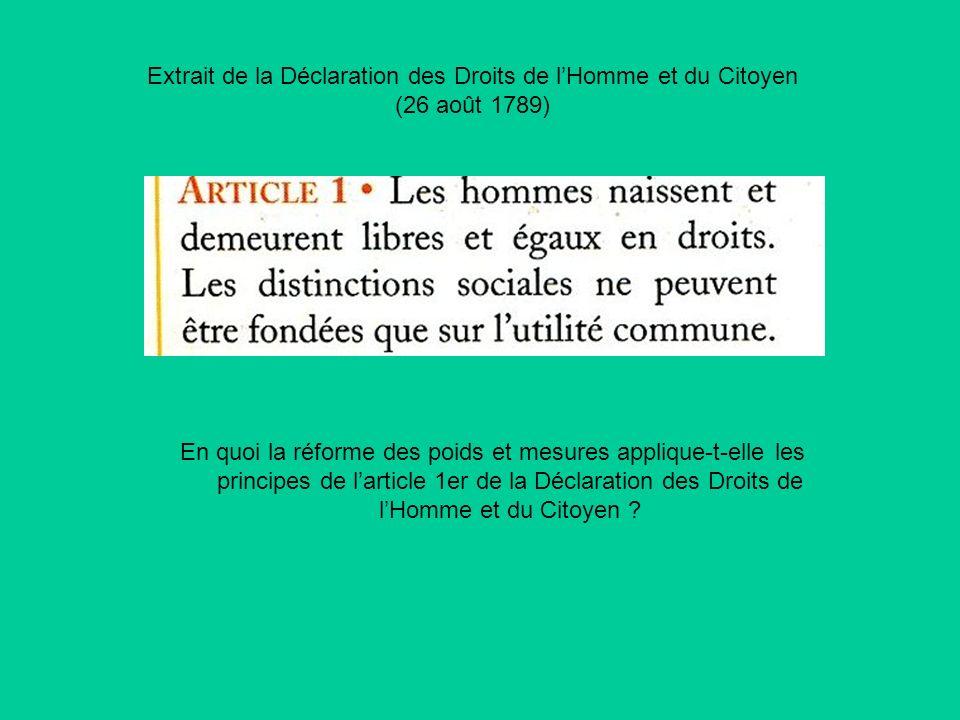Extrait de la Déclaration des Droits de lHomme et du Citoyen (26 août 1789) En quoi la réforme des poids et mesures applique-t-elle les principes de l