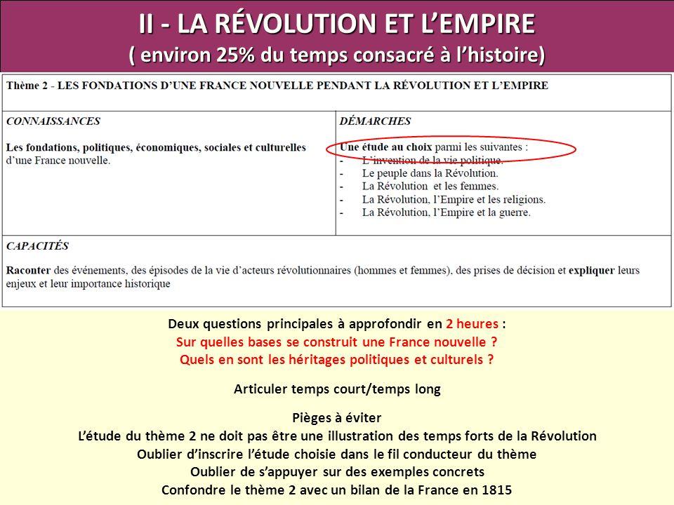 II - LA RÉVOLUTION ET LEMPIRE ( environ 25% du temps consacré à lhistoire) Deux questions principales à approfondir en 2 heures : Sur quelles bases se