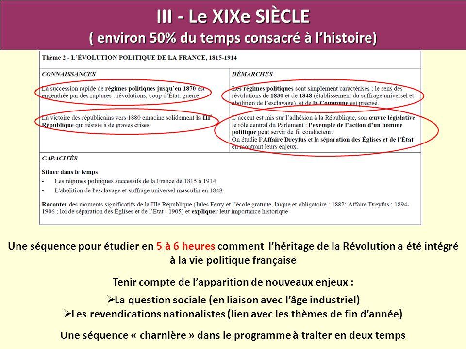 III - Le XIXe SIÈCLE ( environ 50% du temps consacré à lhistoire) Une séquence pour étudier en 5 à 6 heures comment lhéritage de la Révolution a été i