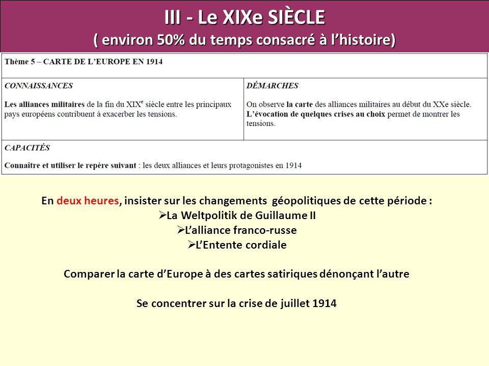 III - Le XIXe SIÈCLE ( environ 50% du temps consacré à lhistoire) En deux heures, insister sur les changements géopolitiques de cette période : La Wel
