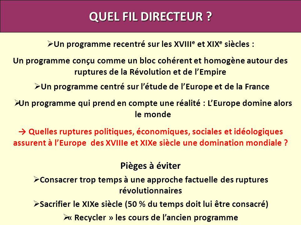 QUEL FIL DIRECTEUR ? Un programme centré sur létude de lEurope et de la France Un programme recentré sur les XVIII e et XIX e siècles : Un programme c
