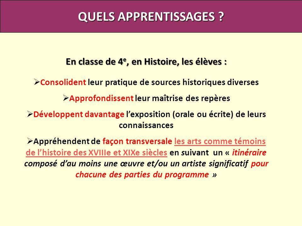 QUELS APPRENTISSAGES ? En classe de 4 e, en Histoire, les élèves : Consolident leur pratique de sources historiques diverses Approfondissent leur maît