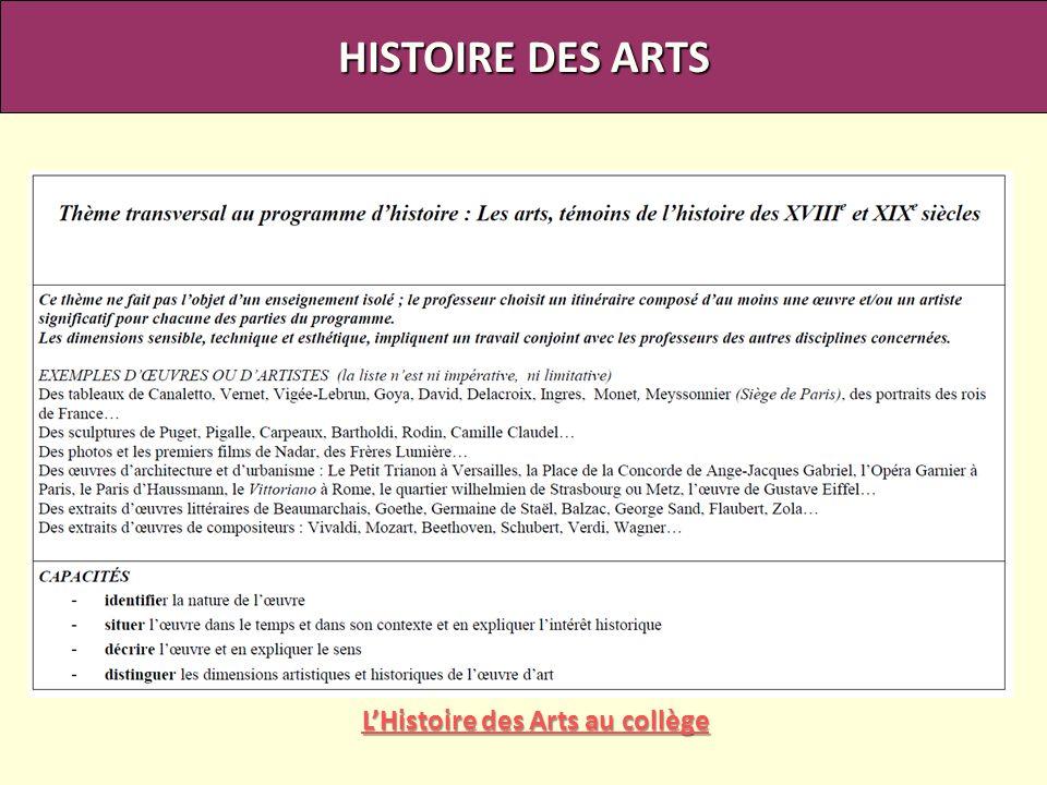 HISTOIRE DES ARTS LHistoire des Arts au collège LHistoire des Arts au collège