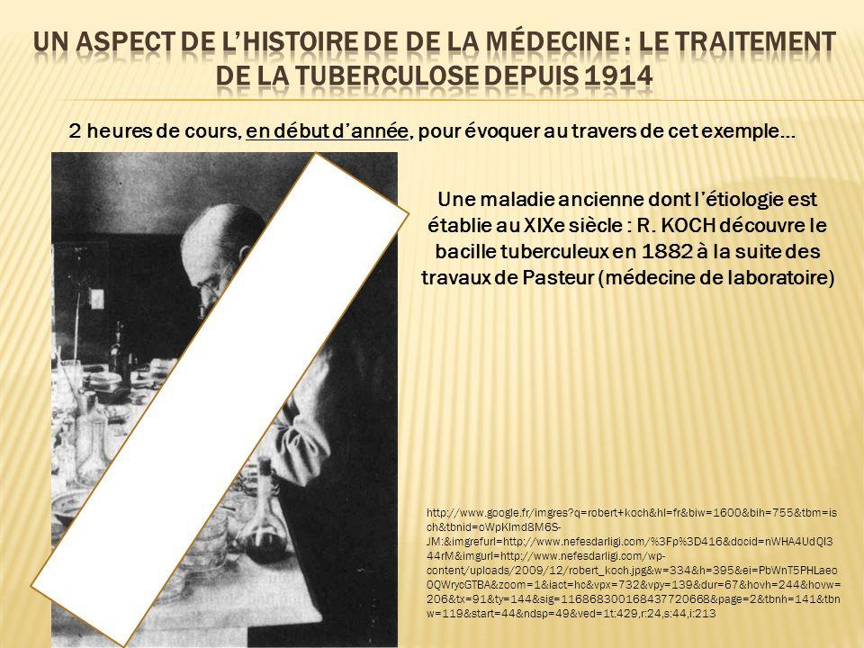 2 heures de cours, en début dannée, pour évoquer au travers de cet exemple… Une maladie ancienne dont létiologie est établie au XIXe siècle : R. KOCH