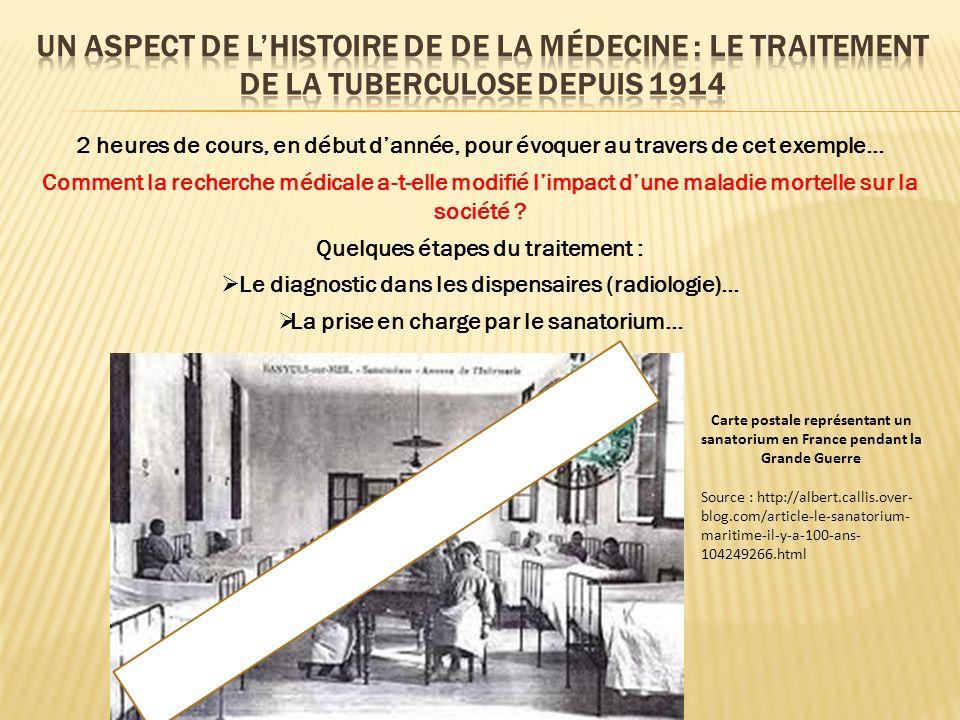 2 heures de cours, en début dannée, pour évoquer au travers de cet exemple… Comment la recherche médicale a-t-elle modifié limpact dune maladie mortelle sur la société .