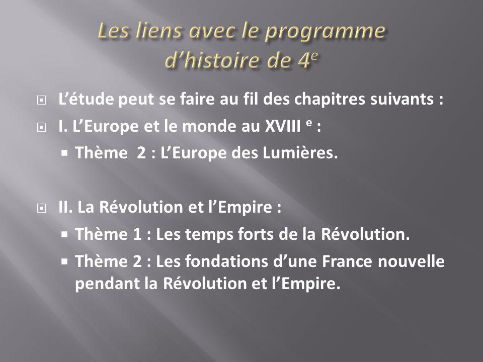 Létude peut se faire au fil des chapitres suivants : I. LEurope et le monde au XVIII e : Thème 2 : LEurope des Lumières. II. La Révolution et lEmpire