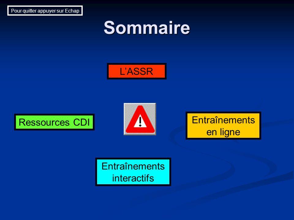 Sommaire Ressources CDI Entraînements interactifs Entraînements en ligne LASSR Pour quitter appuyer sur Echap