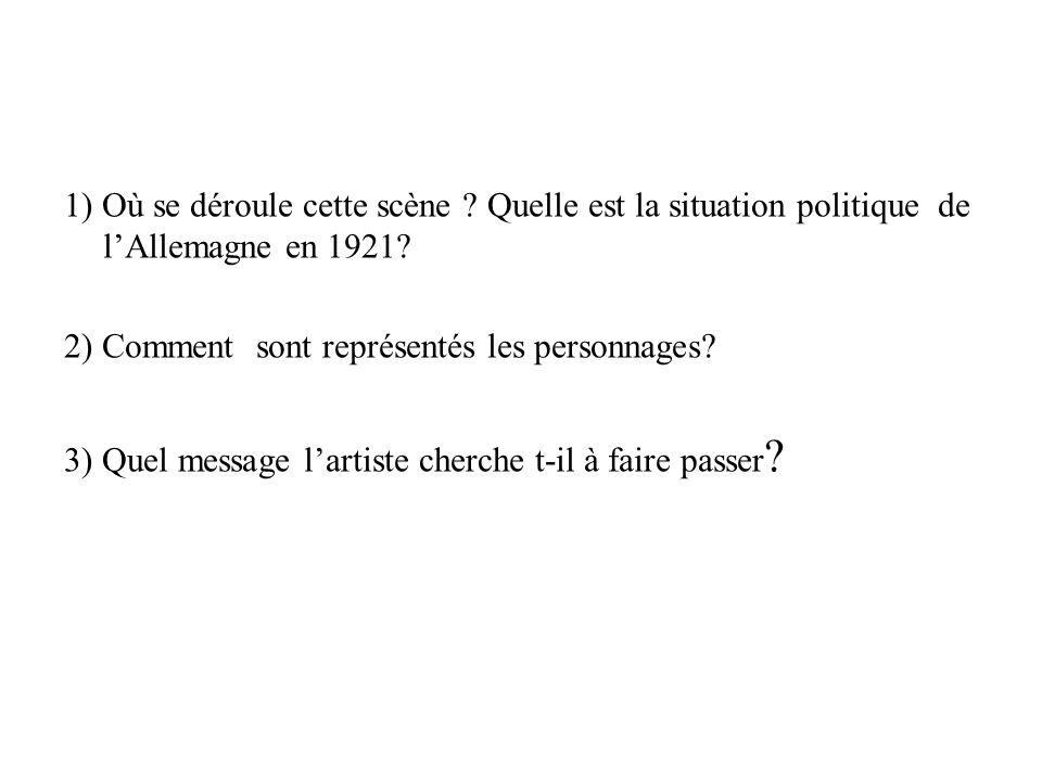 1) Où se déroule cette scène ? Quelle est la situation politique de lAllemagne en 1921? 2) Comment sont représentés les personnages? 3) Quel message l