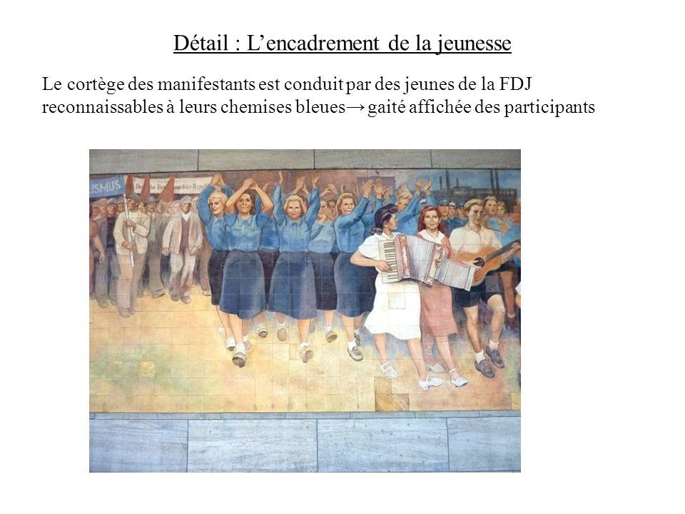 Détail : Lencadrement de la jeunesse Le cortège des manifestants est conduit par des jeunes de la FDJ reconnaissables à leurs chemises bleues gaité af