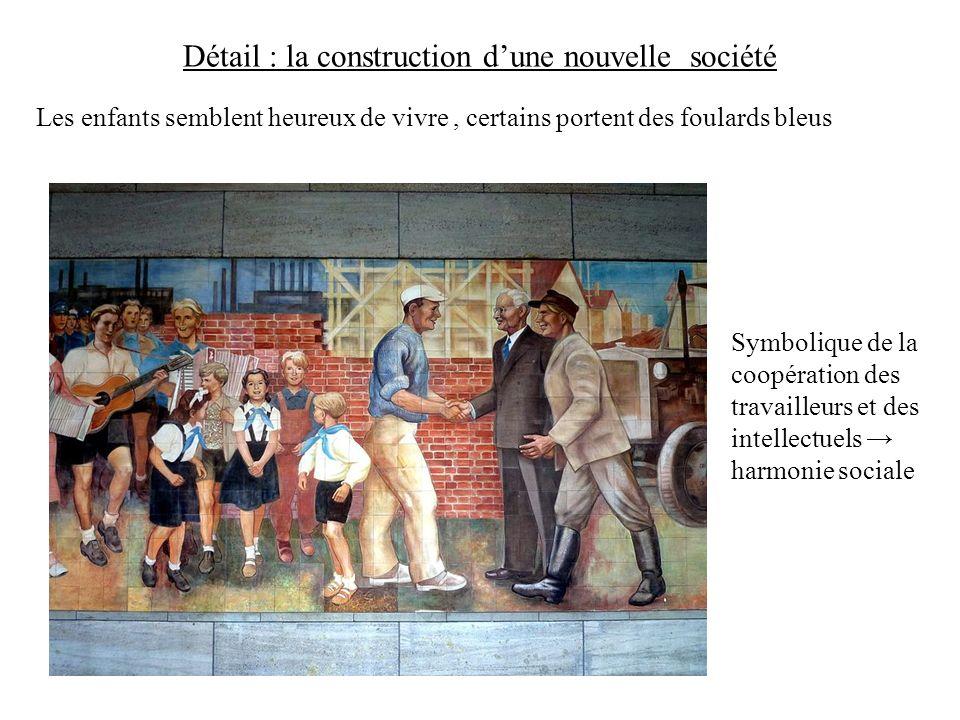 Détail : la construction dune nouvelle société Les enfants semblent heureux de vivre, certains portent des foulards bleus Symbolique de la coopération