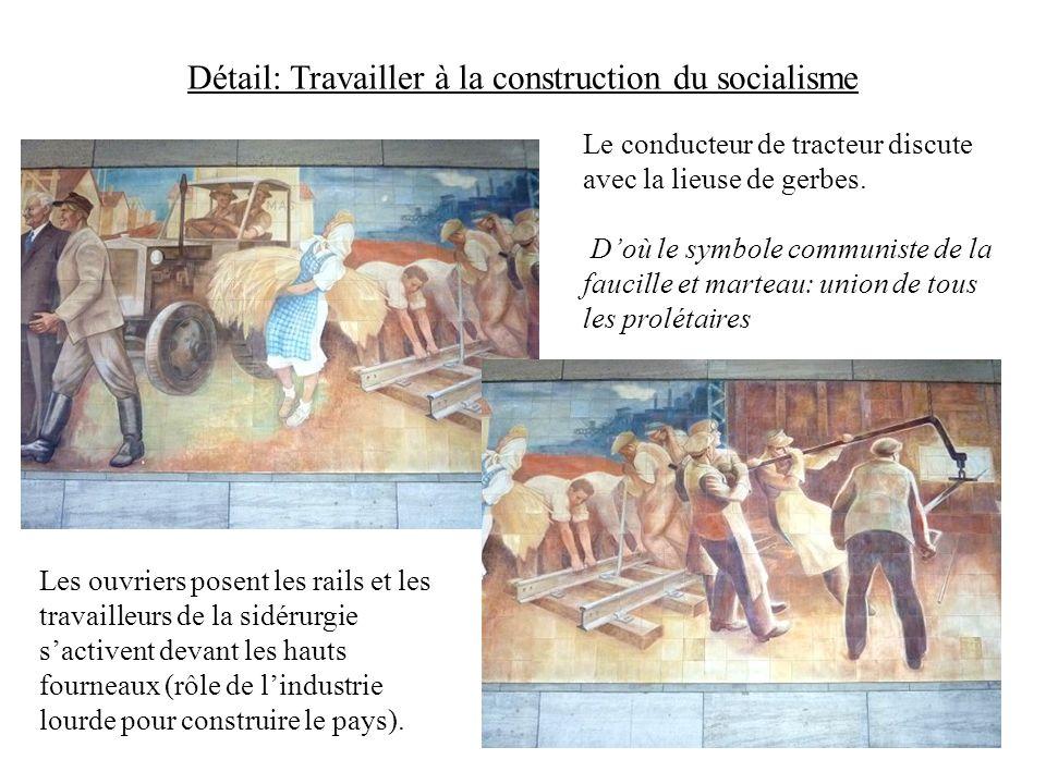 Détail: Travailler à la construction du socialisme Le conducteur de tracteur discute avec la lieuse de gerbes. Doù le symbole communiste de la faucill