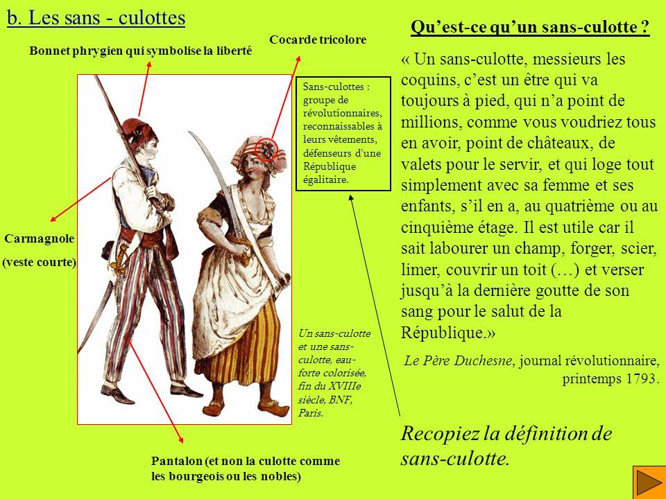 QUESTIONS : - Daprès le texte du Père Duchesne (diapo précédente), quelles sont les trois caractéristiques du sans-culotte .