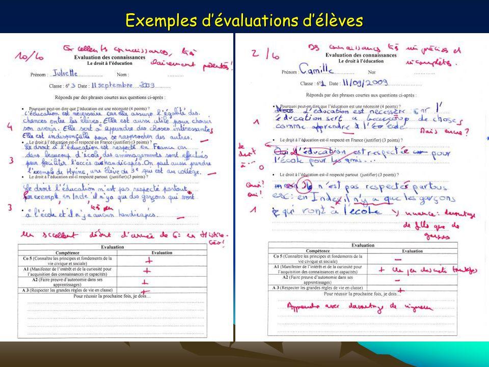 Exemples dévaluations délèves
