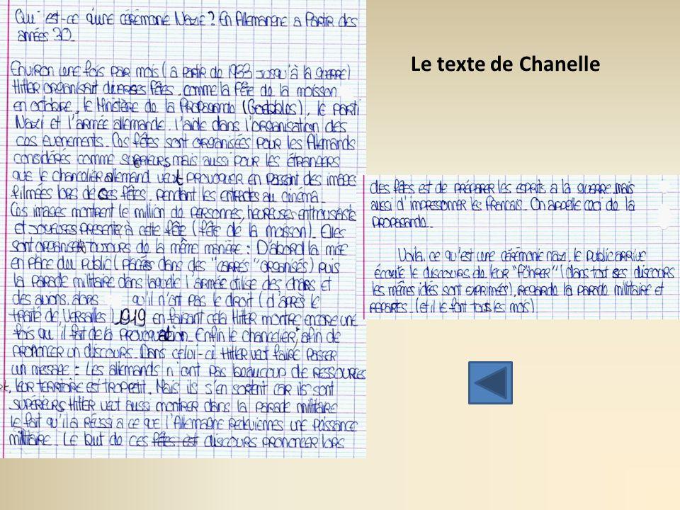 Le texte de Chanelle