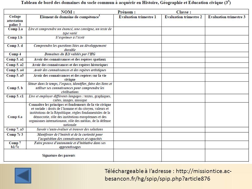 Téléchargeable à ladresse : http://missiontice.ac- besancon.fr/hg/spip/spip.php?article876