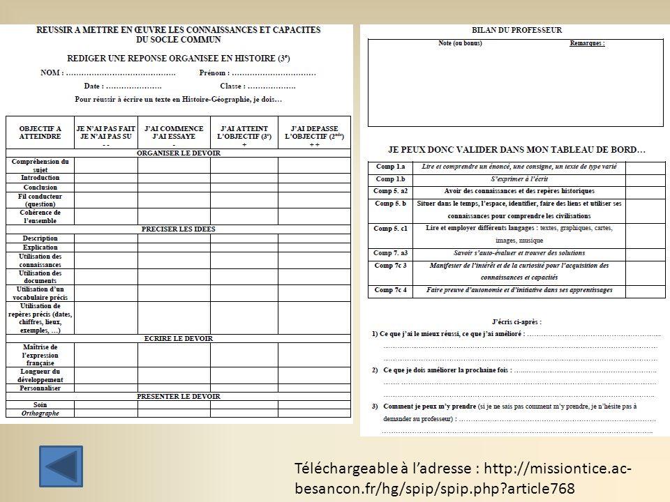 Téléchargeable à ladresse : http://missiontice.ac- besancon.fr/hg/spip/spip.php?article768