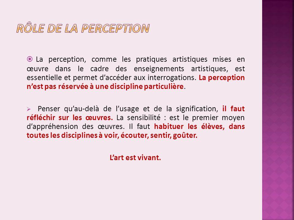 La perception, comme les pratiques artistiques mises en œuvre dans le cadre des enseignements artistiques, est essentielle et permet daccéder aux interrogations.