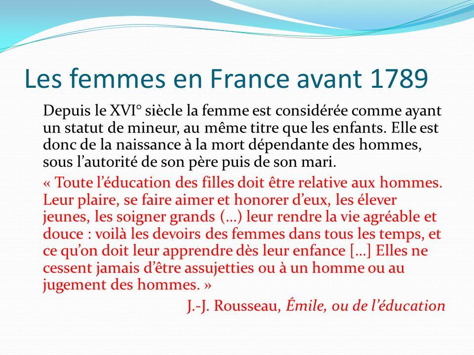 Les femmes en France avant 1789 Depuis le XVI° siècle la femme est considérée comme ayant un statut de mineur, au même titre que les enfants. Elle est