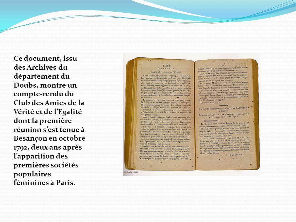 Ce document, issu des Archives du département du Doubs, montre un compte-rendu du Club des Amies de la Vérité et de lEgalité dont la première réunion