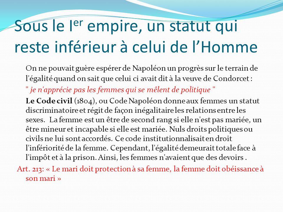 Sous le I er empire, un statut qui reste inférieur à celui de lHomme On ne pouvait guère espérer de Napoléon un progrès sur le terrain de l'égalité qu