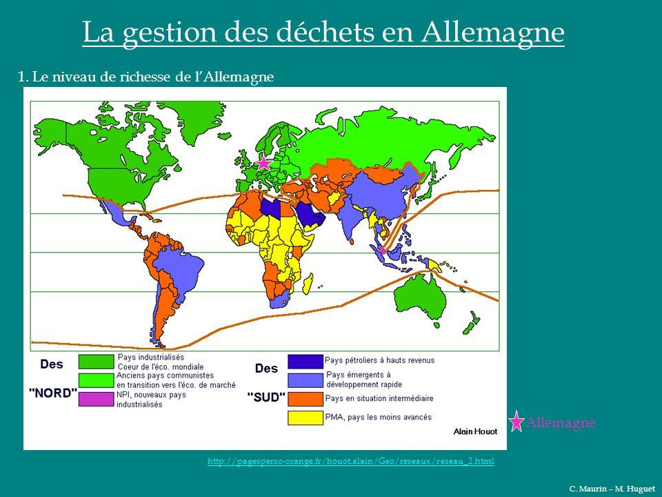 La gestion des déchets en Allemagne 1. Le niveau de richesse de lAllemagne Allemagne http://pagesperso-orange.fr/houot.alain/Geo/reseaux/reseau_2.html