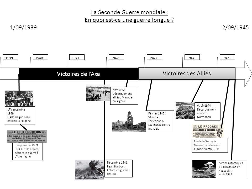 19401941194319421944 1939 1945 La Seconde Guerre mondiale : En quoi est-ce une guerre longue ? 1/09/1939 2/09/1945 Bombes atomiques sur Hiroshima et N