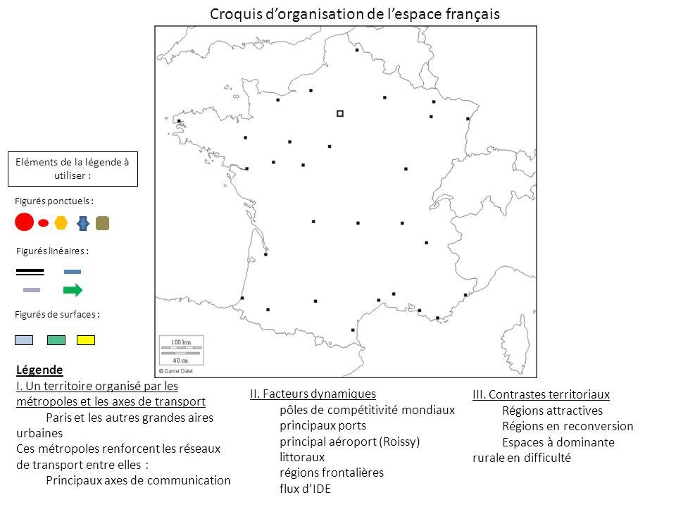 Légende I. Un territoire organisé par les métropoles et les axes de transport Paris et les autres grandes aires urbaines Ces métropoles renforcent les