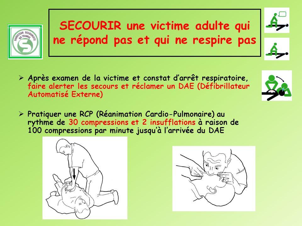 SECOURIR une victime adulte qui ne répond pas et qui ne respire pas Après examen de la victime et constat darrêt respiratoire, faire alerter les secou
