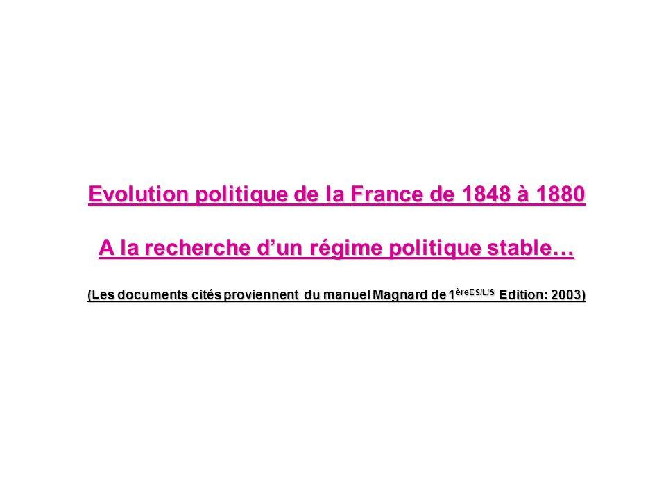 Evolution politique de la France de 1848 à 1880 A la recherche dun régime politique stable… (Les documents cités proviennent du manuel Magnard de 1 èr