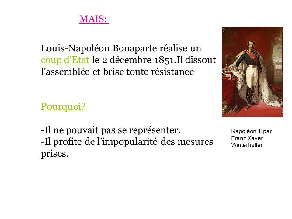 Louis-Napoléon Bonaparte réalise un coup dEtat le 2 décembre 1851.Il dissout lassemblée et brise toute résistance Pourquoi? -Il ne pouvait pas se repr