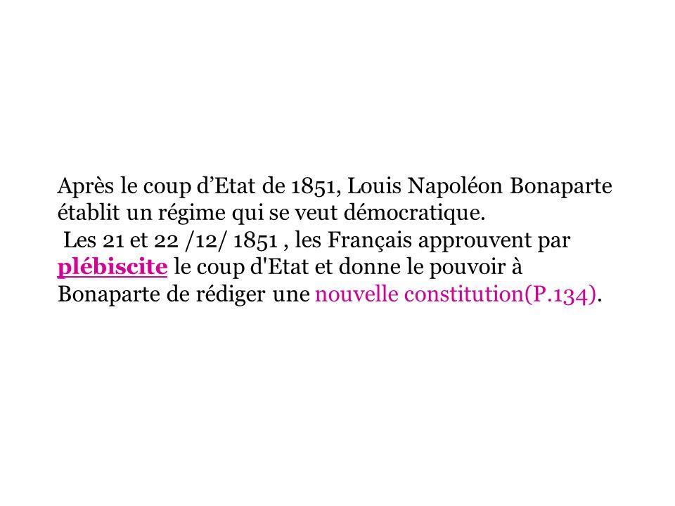 Après le coup dEtat de 1851, Louis Napoléon Bonaparte établit un régime qui se veut démocratique. Les 21 et 22 /12/ 1851, les Français approuvent par