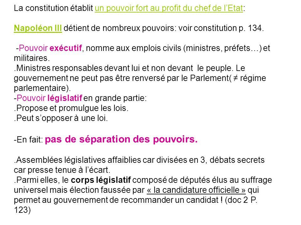 La constitution établit un pouvoir fort au profit du chef de lEtat: Napoléon III détient de nombreux pouvoirs: voir constitution p. 134. -Pouvoir exéc