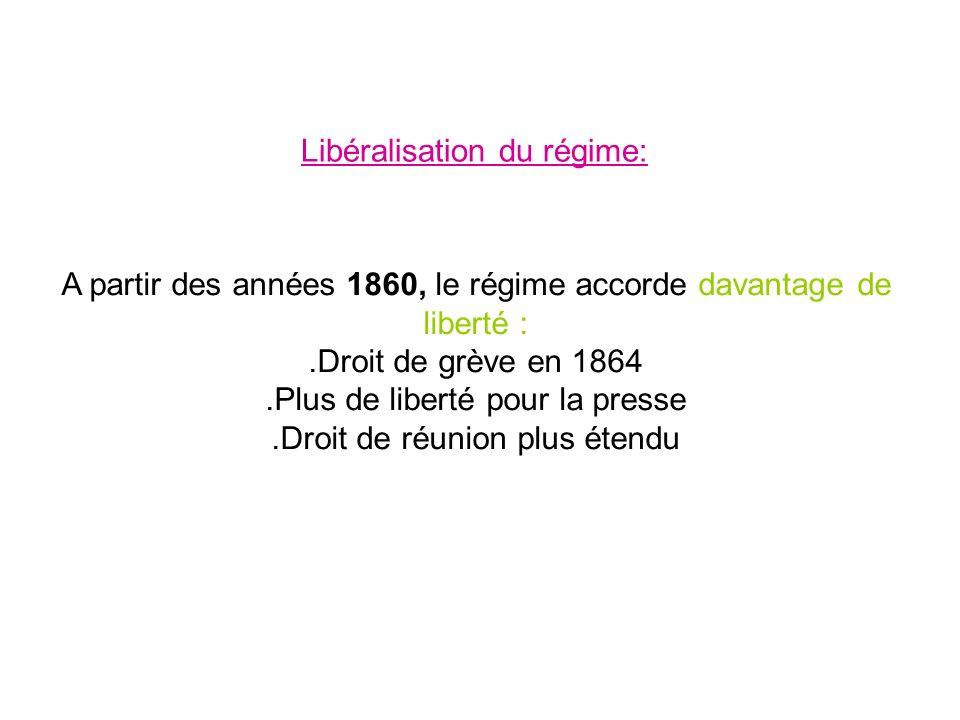 A partir des années 1860, le régime accorde davantage de liberté :.Droit de grève en 1864.Plus de liberté pour la presse.Droit de réunion plus étendu