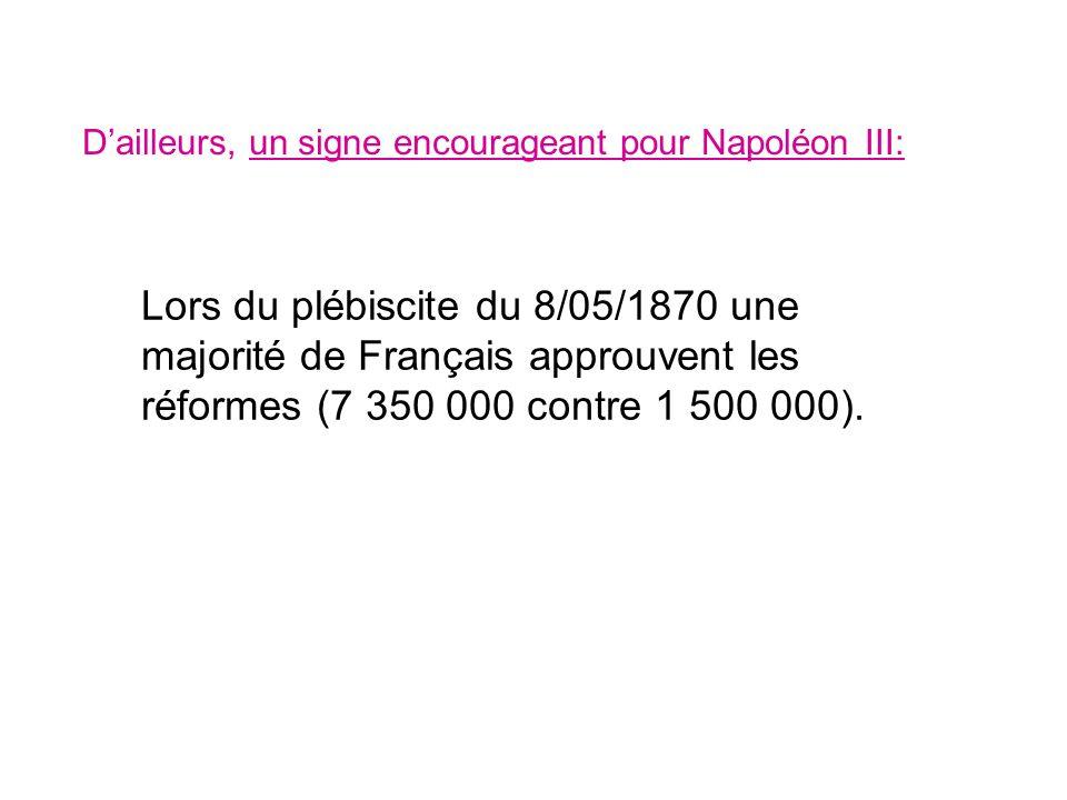Dailleurs, un signe encourageant pour Napoléon III: Lors du plébiscite du 8/05/1870 une majorité de Français approuvent les réformes (7 350 000 contre
