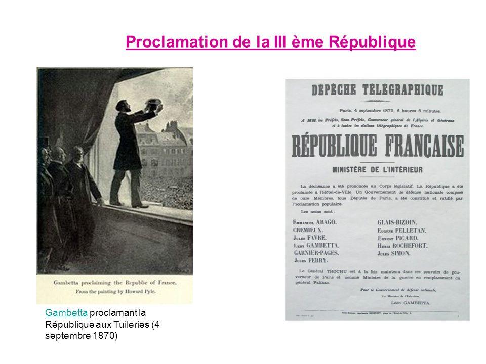 Proclamation de la III ème République GambettaGambetta proclamant la République aux Tuileries (4 septembre 1870)
