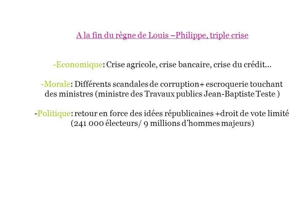 A la fin du règne de Louis –Philippe, triple crise -Economique: Crise agricole, crise bancaire, crise du crédit… -Morale: Différents scandales de corr