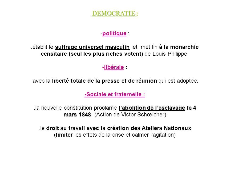 -politique :.établit le suffrage universel masculin et met fin à la monarchie censitaire (seul les plus riches votent) de Louis Philippe. -libérale :