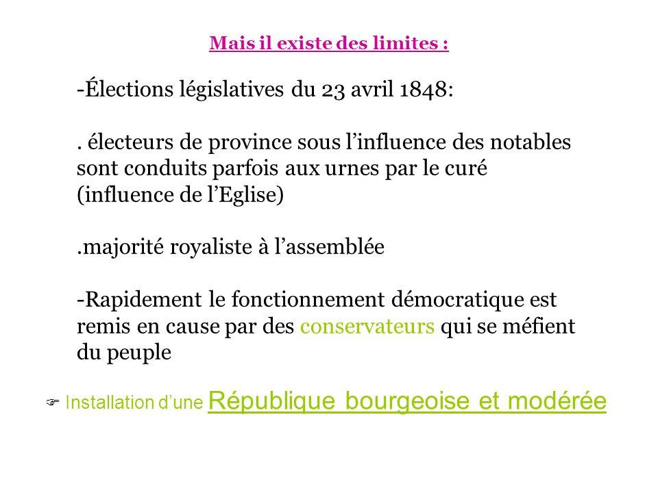 Mais il existe des limites : -Élections législatives du 23 avril 1848:. électeurs de province sous linfluence des notables sont conduits parfois aux u
